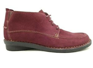 Clarks Burgundy Leather Moc Toe Casual Lace Up Chukka Ankle Boots Women's 9.5 M