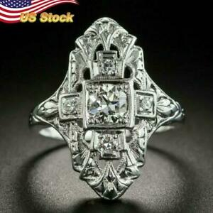 Vintage Women 925 Silver Plated Wedding Rings Round Cut White Sapphire US