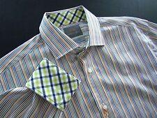 $110 New Thomas Dean Pima Cotton Multi Color Striped Long Sleeved Shirt