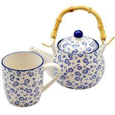 Ceramic Tea For One Tea Pot and Mug Teapot Set, White & Blue Daisy, 550ml