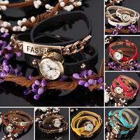 Women Graceful Gold Alloy Case Leather Strap Quartz Wrist Watch Gift Fashion NEW