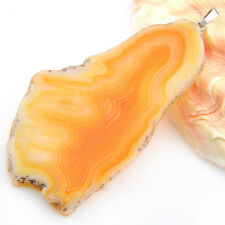 Handmade High Quality Natural Yellow Agate Gems Silver Necklaces Pendants
