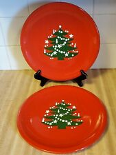 """Waechtersbach Germany Classic Red Christmas Tree 10"""" Dinner Plates Set Of 2"""