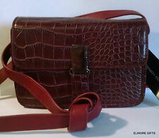 FRENCH CONNECTION BURGUNDY (RED)  FAUX CROCO CROSS BODY MINI BAG MSRP $68 NWT