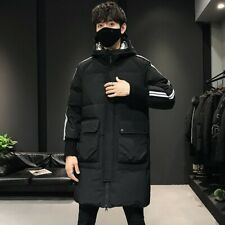 Winter Men's Mid Length Hooded Puffer Coat Duck Down Warm Thick Jacket Outwear