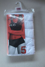 M&S 5 Pack Size 22 Pure Cotton Midi Briefs Knickers Bnwt White