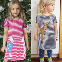 Baby Kids Girls Princess Dresses Striped Short Sleeve Tops Shirt Outfits Clothes