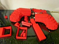 LEGO HUGE LOT OF RED PIECES BRICK BLOCKS~