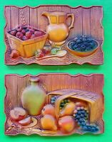 Vintage Mid Century 60s 70s Colorful Fruit Chalkware Ceramic Wall Hangings Art
