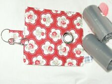 HANDMADE FABRIC DOG POO POOP BAG HOLDER DISPENSER RED ROSE