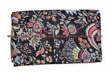 Indian cotton floral mukut kantha handmade quilt vintage bedspread king blanket