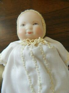 """Vintage 6"""" Bylo Type Porcelain Bisque Baby Doll w/Cloth Body, Crocheted Bonnet"""
