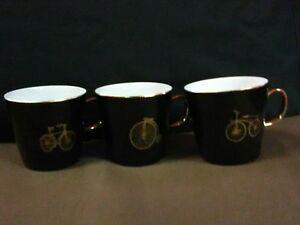 """(3) Unique Lovely EPIAG Fine Porcelain Black/Gold""""Bike Pictorials"""" Cups,Czech"""