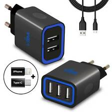 Travel 2 Port 3 Port Wall Charger Power Adapter European Plug Fast 3.1A & Cable