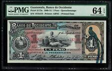 Pick-S173c Guatemala Banco de Occidente One Peso 1Peso  1914  UNC PMG64 EPQ