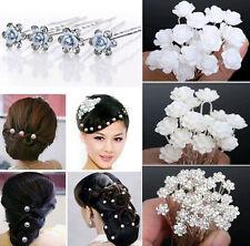 40PCS Crystal Pearl Flower Hair Pins Clips Wedding Bridal Head Jewelry Accessory