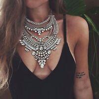 Damen Vintage Halskette Collier Statement Kette Ethno Kristall Bohemian Silber
