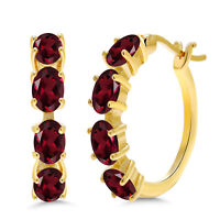 4.00 Ct Oval Red Rhodolite Garnet 18K Yellow Gold Plated Silver Hoop Earrings