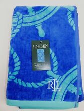 NWT RALPH LAUREN 35x66 Blue Teal NAUTICAL Design French Terry Beach Towel