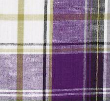 Purple, White, Black Cotton Fabric. 2½ Yards. Madras Plaid. Woven Tartan