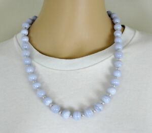 """QVC Milor Italy Sterling Silver 12mm Blue Lace Agate Magnetic Clasp 24"""" Necklace"""