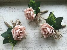 3 X Vintage Dusky Pink Blush Rose Buttonholes, Rustic, Hessian Wedding Flowers
