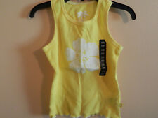 NWT baby Gap girl yellow ribbed tank top w/white flower & trim; size 3T