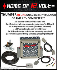 THUMPER In line 50 Amp dual battery isolator complete kit suits all vehicles
