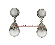 Estate 100% Real & Natural 2.12ct Antique Rose Cut Diamond Silver Pearl Earrings