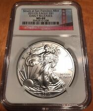 2011 S San Francisco Silver American Eagle NGC MS-69 (ER) Red Label