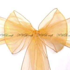 Gold Organza Chair Sashes 22x280cm Wedding Party Reception Decor Bow