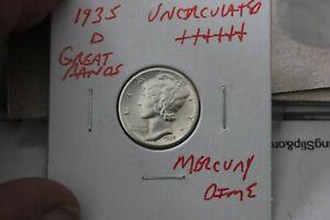 1935-D   GREAT BANDS  UNC+++  MERCURY DIME