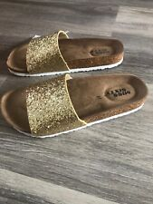 MISS SIXTY GOLD SLIP ON SANDALS WITH CORK & RUBBER SOLES BNWT SIZE UK 4