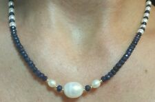 25ct genuine Sapphire white Freshwater Pearl necklace 14k solid gold