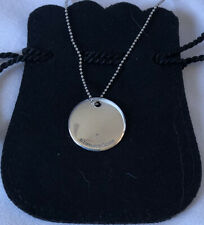 """TIFFANY & CO 925 Round Disc Pendant Bead Chain Necklace 18"""" 5.8gm Engraved """"G"""""""
