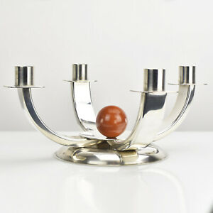 Quist Art Deco Modernist Candle Holder Candelabra Bakelite Ball Bauhaus Era