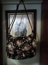 Forever 21 Large Floral Faux Leather Trim Messenger Purse Bag Snap Closure