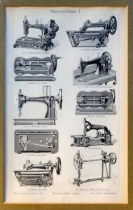 antike Nähmaschinen wunderschöner Druck hinter Glas technisches Dokument
