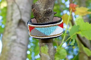 Maasai Masai Beaded Leather Bracelet African Handcrafted