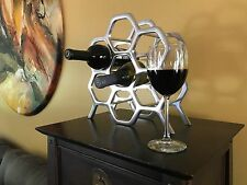 Mid Century Modern Wine Rack, 7 Wine Bottle Holder, Polished Aluminum Silver