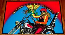 VOLTAR Satan's Sidekick Motorcycle Biker Flocked Blacklight Poster 1971 Pro Arts
