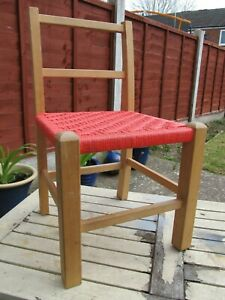 Child's Wicker Chair Wood Rattan Display or Dolls Bears Good Condition 52.5cms
