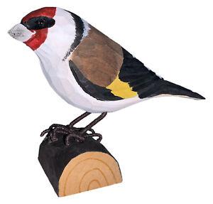 Handgeschnitzter heimischer Vogel stehend, Stieglitz aus Holz 12x9x5 cm, Deko