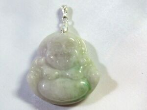 NATURAL LAVENDER GREEN JADE CHINESE FENG SHUI HAPPY BUDDHA PENDANT 925 Silver