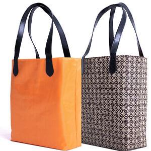 DASTI Reversible Brown Monogrammed Double Sides Carryall Large Shopper Bolsa