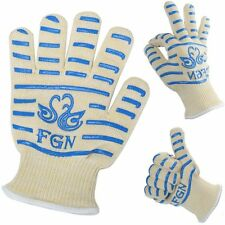 FGN the Double Oven Gloves with Fingers - Heat Resistant w/ Cotton Lining - BBQ