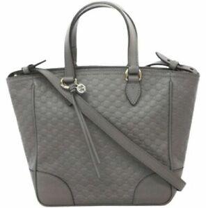 Gucci 449241 Bree Graphite Gray Micro-GG Leather Zip Top Crossbody/ Tote, NWT