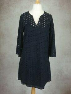 The White Company London Navy Dress Size UK 14 Net with Vest Slip