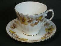 Vintage Duchess Golden Cascade Bone China Teacup & Saucer Set Floral Gold, Mint!