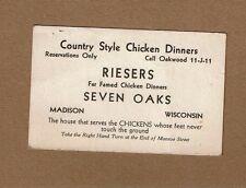 Vtg Business Card Riesers Seven Oaks Madison WI Famed Chicken Dinners Monroe St.